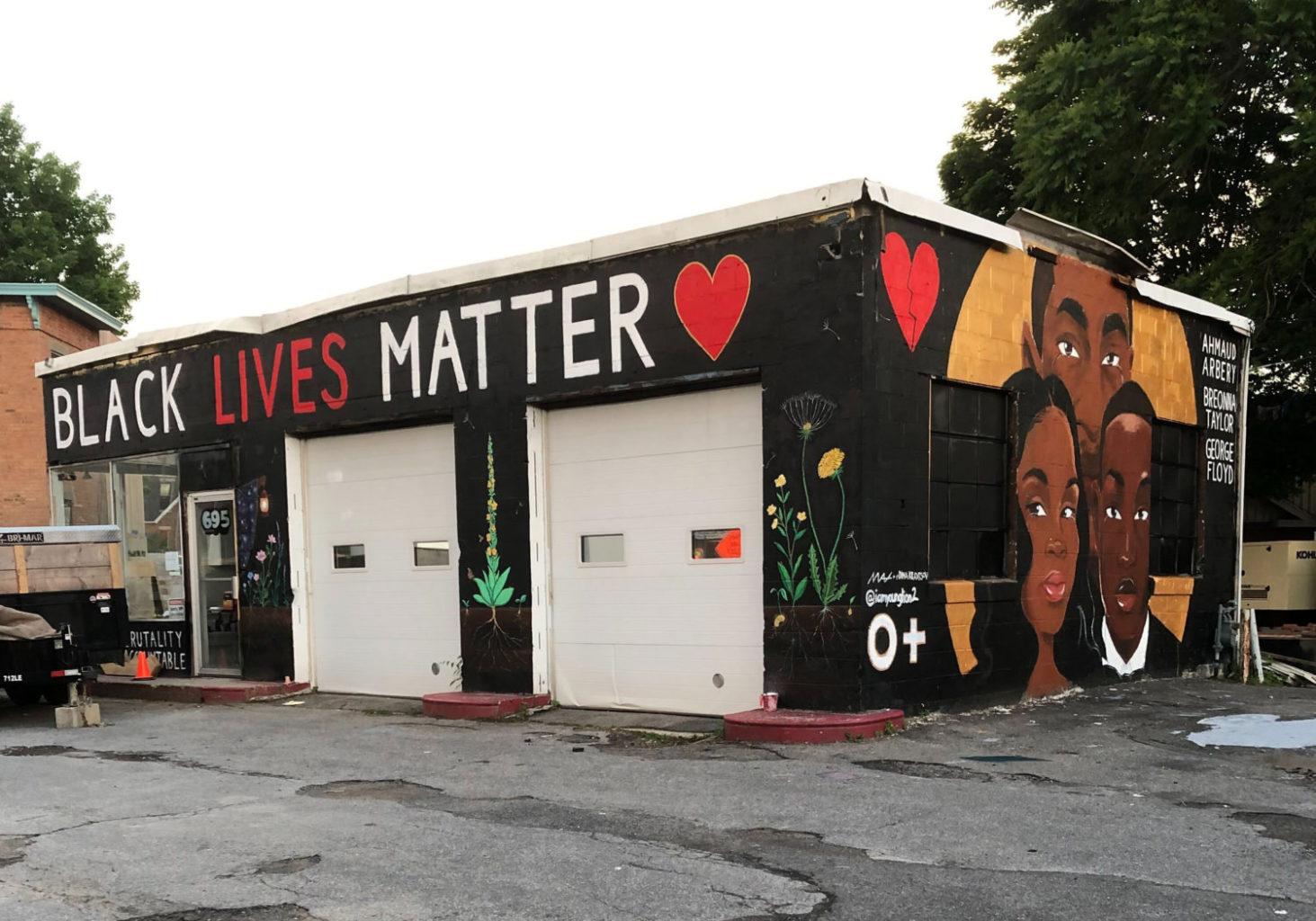 Completed Black Lives Matter mural_two_artists Jalani Crooks and Dina Kravtsov and Matthew Schulze_KingstonNY_crop